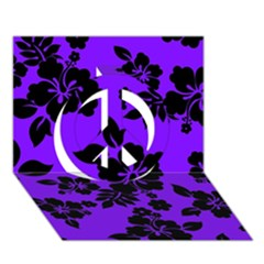 Violet Dark Hawaiian Peace Sign 3d Greeting Card (7x5)  by AlohaStore