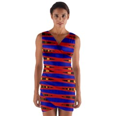 Bright Blue Red Yellow Mod Abstract Wrap Front Bodycon Dress