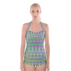 Colorful Zigzag Pattern Boyleg Halter Swimsuit  by BrightVibesDesign