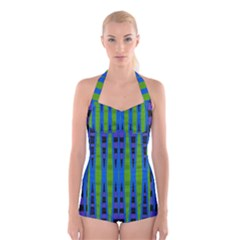 Blue Green Geometric Boyleg Halter Swimsuit