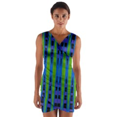 Blue Green Geometric Wrap Front Bodycon Dress