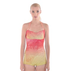Ombre Orange Yellow Boyleg Halter Swimsuit
