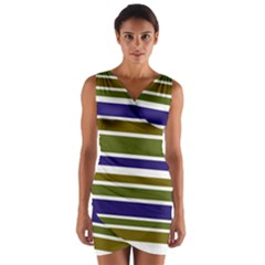 Olive Green Blue Stripes Pattern Wrap Front Bodycon Dress by BrightVibesDesign