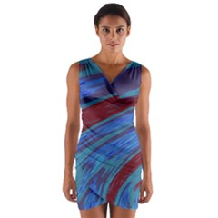 Swish Blue Red Wrap Front Bodycon Dress by BrightVibesDesign