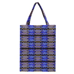 Pattern Tile Blue White Green Classic Tote Bag by BrightVibesDesign