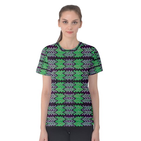 Pattern Tile Green Purple Women s Cotton Tee by BrightVibesDesign