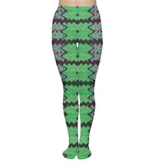 Pattern Tile Green Purple Women s Tights by BrightVibesDesign
