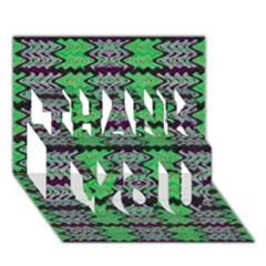 Pattern Tile Green Purple Thank You 3d Greeting Card (7x5)  by BrightVibesDesign