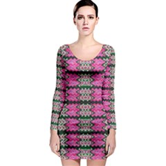 Pattern Tile Pink Green White Long Sleeve Bodycon Dress by BrightVibesDesign