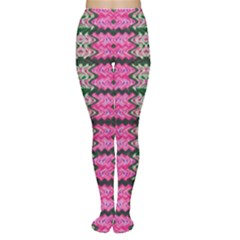 Pattern Tile Pink Green White Women s Tights by BrightVibesDesign