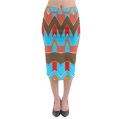 Blue Brown Chevrons                                                                         Midi Pencil Skirt