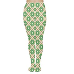 Crisscross Pastel Green Beige Women s Tights by BrightVibesDesign