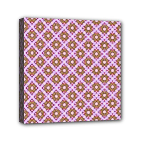 Crisscross Pastel Pink Yellow Mini Canvas 6  X 6  by BrightVibesDesign