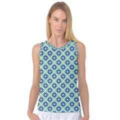 Crisscross Pastel Turquoise Blue Women s Basketball Tank Top by BrightVibesDesign