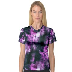 Celestial Purple  Women s V Neck Sport Mesh Tee by KirstenStar