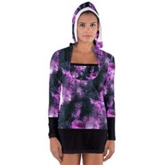 Celestial Purple  Women s Long Sleeve Hooded T Shirt by KirstenStar