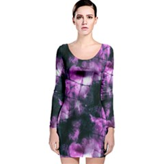 Celestial Purple  Long Sleeve Velvet Bodycon Dress by KirstenStar