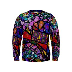 Fractal Stained Glass Kids  Sweatshirt by WolfepawFractals