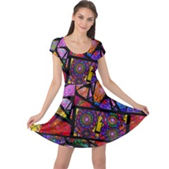 Fractal Stained Glass Cap Sleeve Dresses by WolfepawFractals
