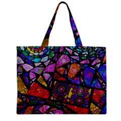 Fractal Stained Glass Zipper Mini Tote Bag by WolfepawFractals