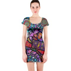 Fractal Stained Glass Short Sleeve Bodycon Dress by WolfepawFractals