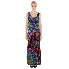 Fractal Stained Glass Maxi Thigh Split Dress by WolfepawFractals