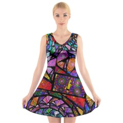 Fractal Stained Glass V-neck Sleeveless Skater Dress by WolfepawFractals
