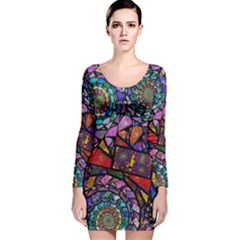 Fractal Stained Glass Long Sleeve Velvet Bodycon Dress by WolfepawFractals