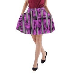 Purple Lace Landscape Abstract Shimmering Lovely In The Dark A Line Pocket Skirt by pepitasart