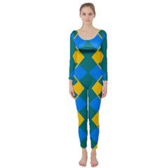 Blue Yellow Rhombus Pattern                                                                            Long Sleeve Catsuit by LalyLauraFLM