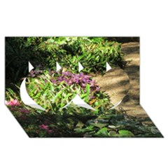 Shadowed Ground Cover Twin Hearts 3d Greeting Card (8x4)  by ArtsFolly