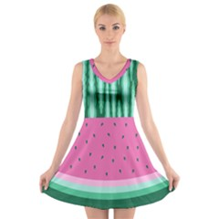 Watermelon V-neck Sleeveless Skater Dress by olgart