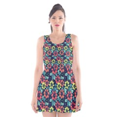 Tropical Flowers Scoop Neck Skater Dress by olgart