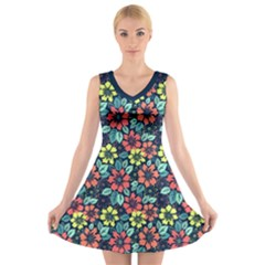Tropical Flowers V Neck Sleeveless Skater Dress by olgart