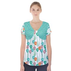 Flower Short Sleeve Front Detail Top by Wanni