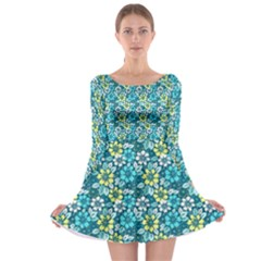 Tropical Flowers Menthol Color Long Sleeve Skater Dress by olgart