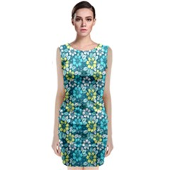 Tropical Flowers Menthol Color Classic Sleeveless Midi Dress by olgart