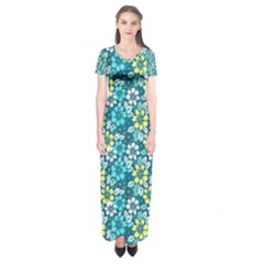 Tropical Flowers Menthol Color Short Sleeve Maxi Dress by olgart