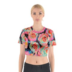 Painted Pastel Roses Cotton Crop Top by LisaGuenDesign