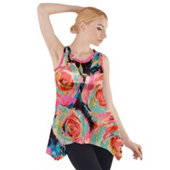Painted Pastel Roses Side Drop Tank Tunic by LisaGuenDesign
