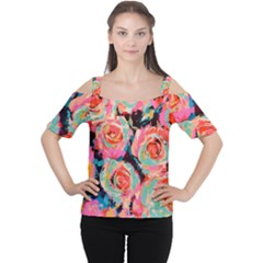 Painted Pastel Roses Women s Cutout Shoulder Tee by LisaGuenDesign
