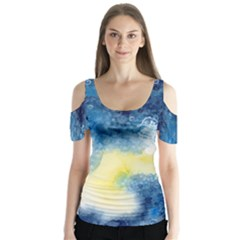 Tie Dye5 Butterfly Sleeve Cutout Tee  by Wanni