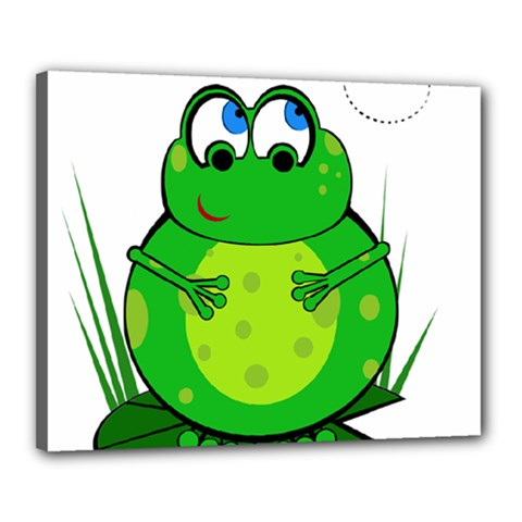 Green Frog Canvas 20  X 16  by Valentinaart