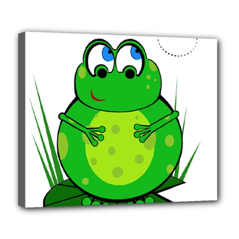 Green Frog Deluxe Canvas 24  X 20   by Valentinaart