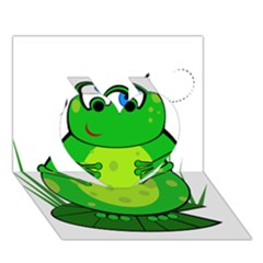 Green Frog Heart 3d Greeting Card (7x5)  by Valentinaart