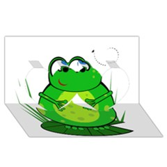 Green Frog Twin Hearts 3d Greeting Card (8x4)  by Valentinaart