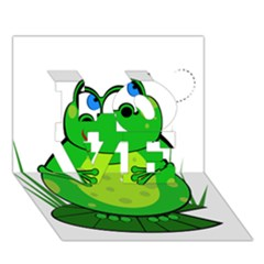 Green Frog Love 3d Greeting Card (7x5)  by Valentinaart