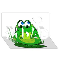 Green Frog #1 Dad 3d Greeting Card (8x4)  by Valentinaart