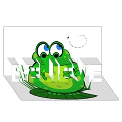 Green Frog Believe 3d Greeting Card (8x4)