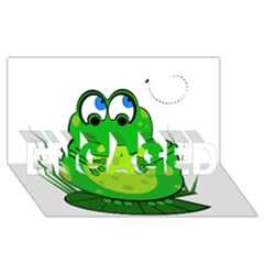 Green Frog Engaged 3d Greeting Card (8x4)  by Valentinaart
